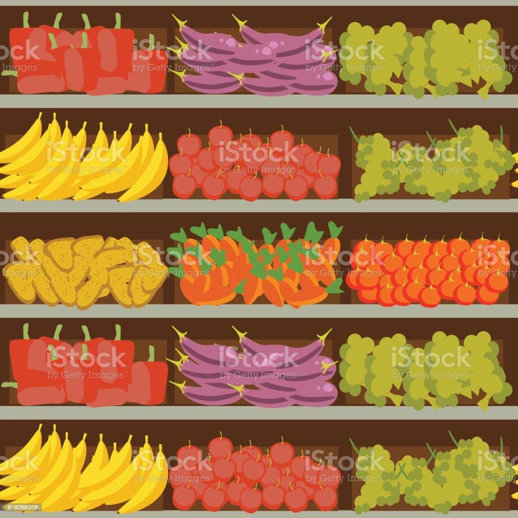 obst und gem se regal mit frische gesunde lebensmittel im supermarkt gro e auswahl an. Black Bedroom Furniture Sets. Home Design Ideas