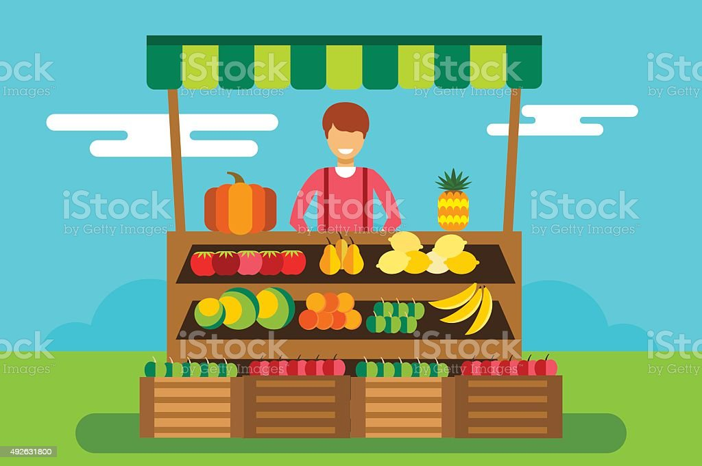 Fruit and vegetables shop stall vector art illustration
