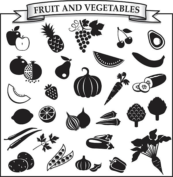 Fruit and vegetables silhouette-icon set EPS and JPG. Vector. avocado silhouettes stock illustrations