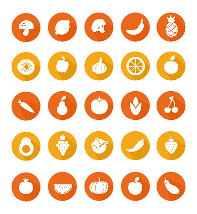 Fruit and vegetables stock illustration set on circle solid colored background. Simple set of outline icons about healthy food, diet nutrition. Flat design Icon vector stock illustration collection can be used for web and mobile apps.