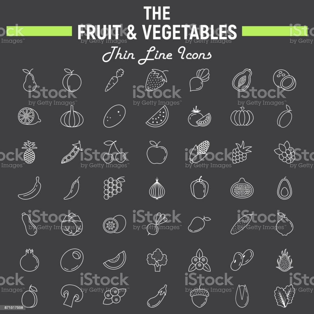 Fruit and Vegetables thin line icon set vector art illustration