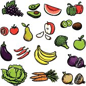 Coloured sketches of fruit and vegetables.