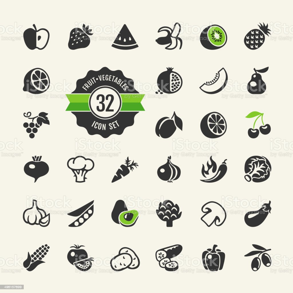 Fruit and Vegetables web icon set vector art illustration