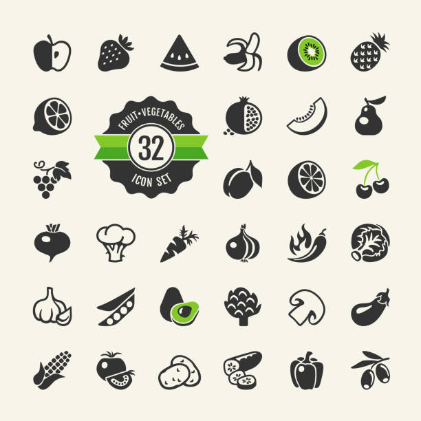 Fruit and Vegetables web icon set Fruit and Vegetables vector web icon collection avocado silhouettes stock illustrations