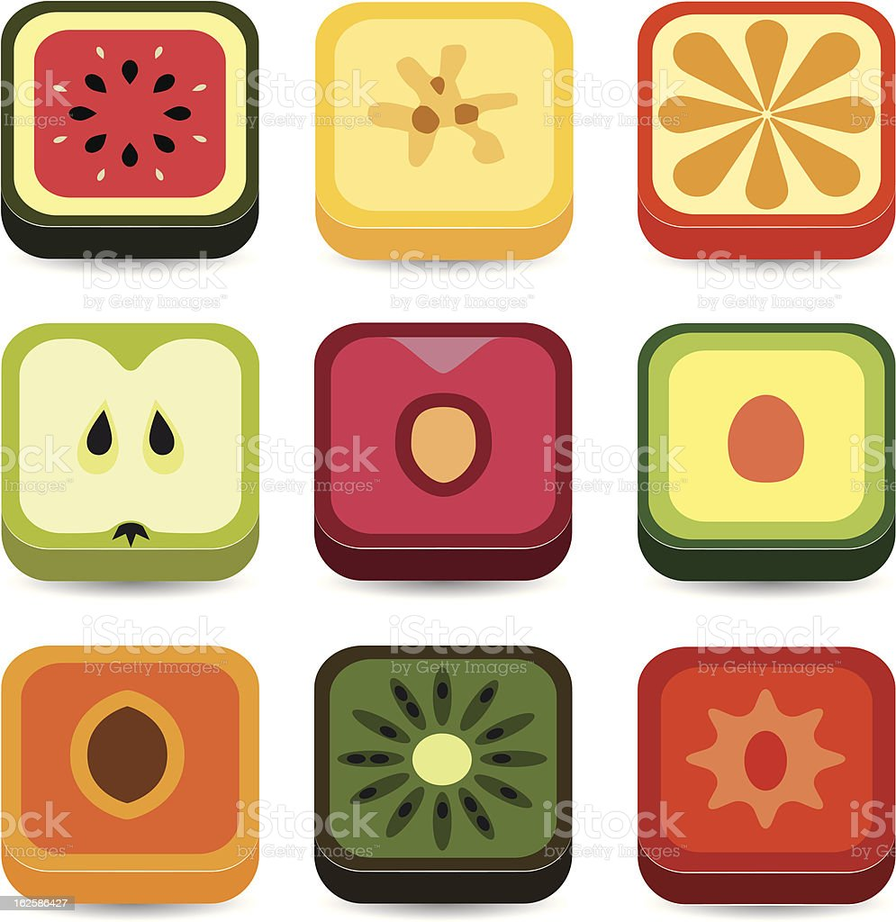 fruit application icons royalty-free stock vector art