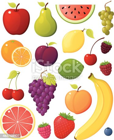 Collection of vector fruit images. Red apple, green pear, yellow banana, watermelon, blueberry, raspberry, boisonberry, lemon, lime, cherry, orange, peach, plum, grapefruit, strawberry, purple grape and green grape assortment of produce found in a grocery store or supermarket.