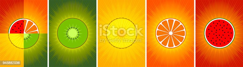 istock Fruit background for poster. Set 945882036