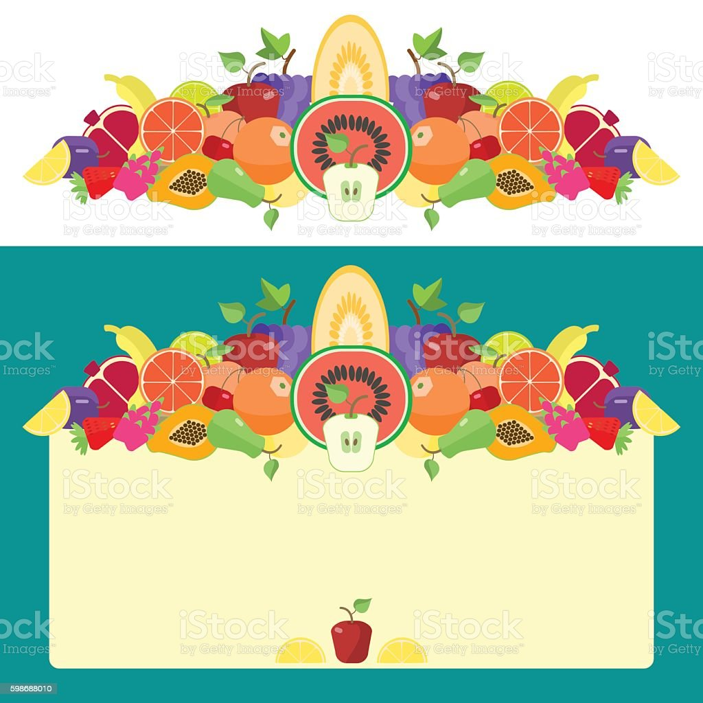 Fruit, background from a set of fruits vector art illustration