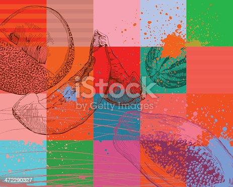Fruit abstract background, high detail - vector illustrtation