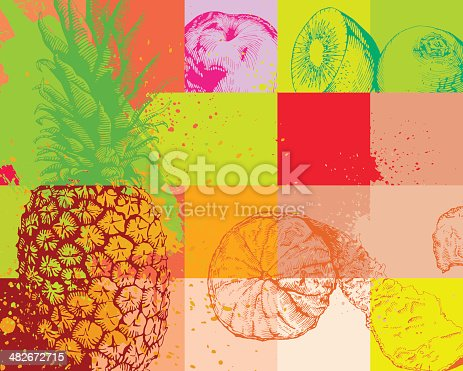 Fruit abstract background, high detail - vector illustrtation