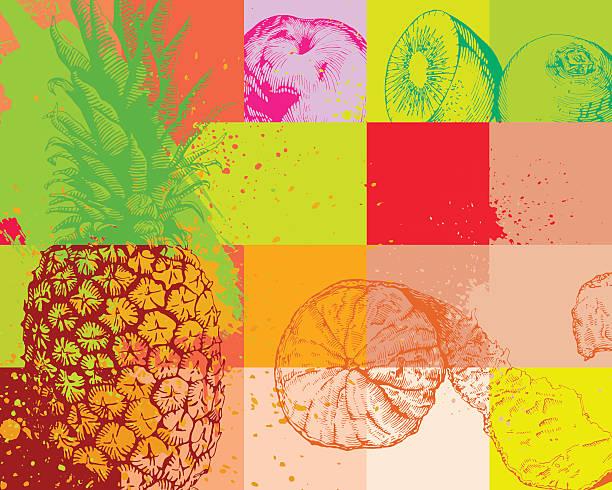illustrazioni stock, clip art, cartoni animati e icone di tendenza di sfondo di frutta - healthy green juice