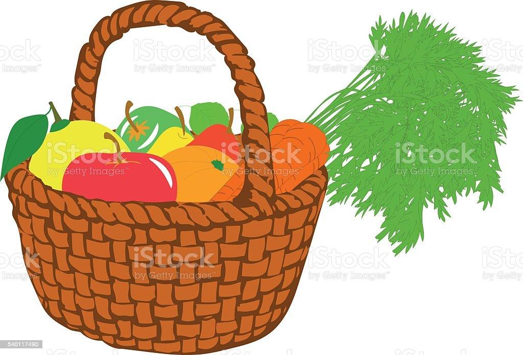 royalty free fruit basket clip art vector images illustrations rh istockphoto com fruit basket clipart png fruit basket clipart outline
