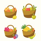 There are four baskets with the fruits