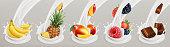 Fruit, berries and yogurt. Realistic illustration. 3d vector icon set 3
