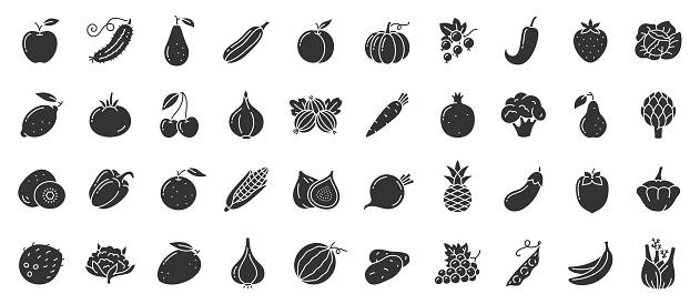 Fruit berry vegetable food glyph icon vector set