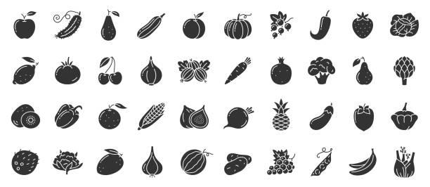 illustrazioni stock, clip art, cartoni animati e icone di tendenza di fruit berry vegetable food glyph icon vector set - aglio cipolla isolated