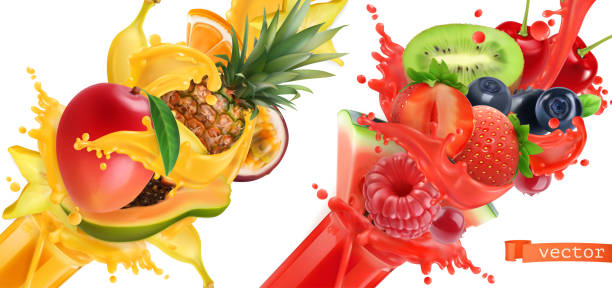 illustrazioni stock, clip art, cartoni animati e icone di tendenza di fruit burst. splash of juice. sweet tropical fruits and mixed berries. mango, banana, pineapple, papaya, strawberry, raspberry, blueberry, watermelon. 3d realistic vector icon set - passiflora