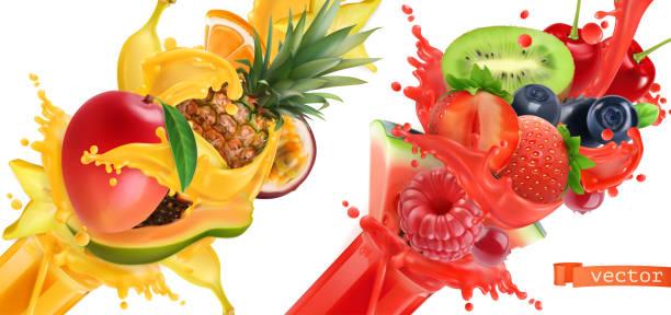 illustrations, cliparts, dessins animés et icônes de éclat de fruit. soupçon de jus. fruits tropicales doux et petits fruits. mangue, banane, ananas, papaye, fraise, framboise, myrtille, melon d'eau. jeu d'icônes vectorielles réaliste 3d - fruit de la passion