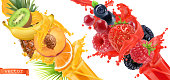 Fruit burst. Splash of juice. Sweet tropical fruits and mixed forest berries. 3d realistic vector icon set