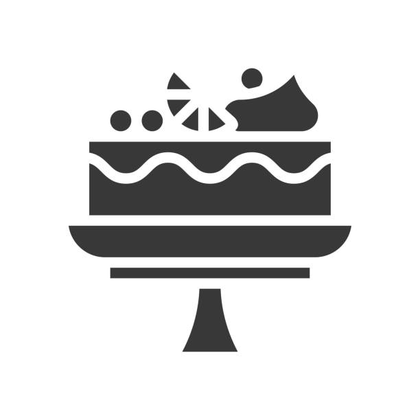 fruit cake on cake stand, bakery and pastry set, glyph icon fruit cake on cake stand, bakery and pastry set, glyph icon cakestand stock illustrations