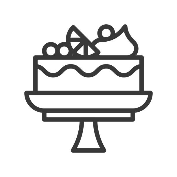 fruit cake on stand, sweets and dessert outline icon fruit cake on stand, sweets and dessert outline icon cakestand stock illustrations