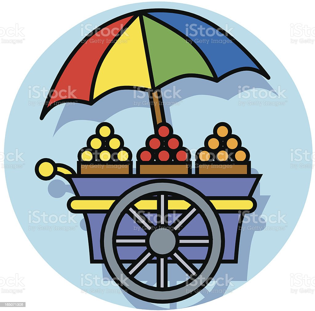 fruit cart icon vector art illustration