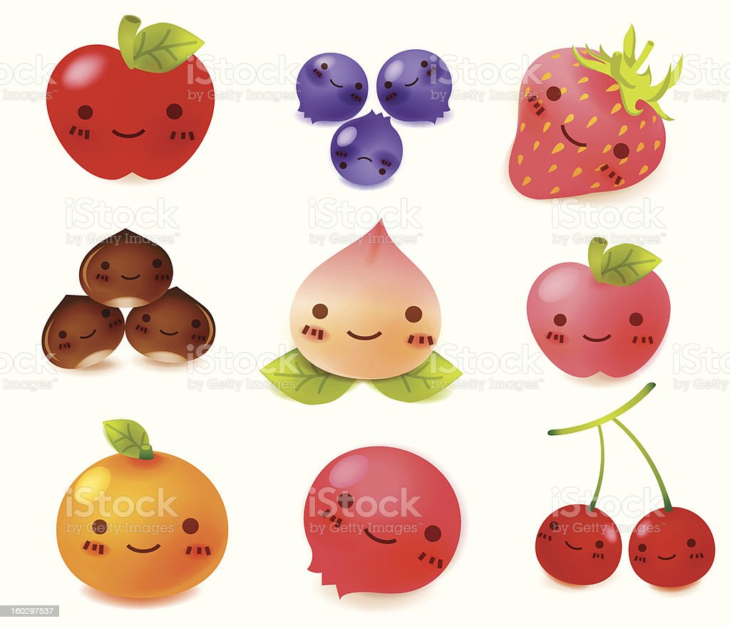 Cartoon fruit with faces