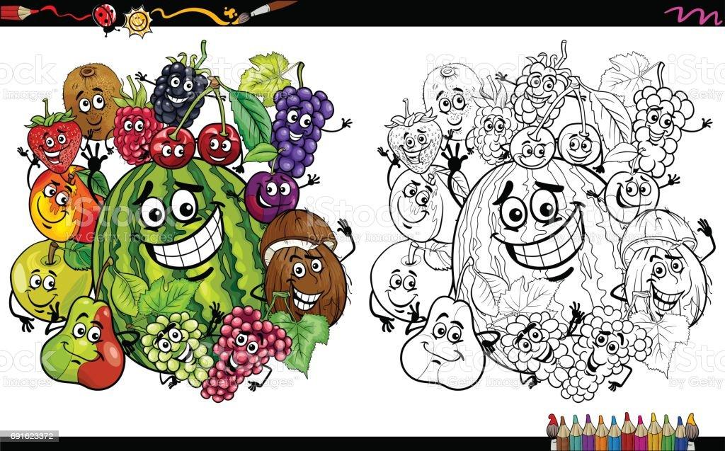 Meyve Karakter Sayfa Boyama Stok Vektör Sanatı Ahududunin Daha