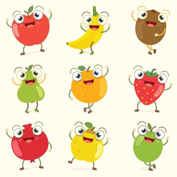 ilustrações, clipart, desenhos animados e ícones de conjunto de caracteres de fruta ilustração vetorial - fruit salad