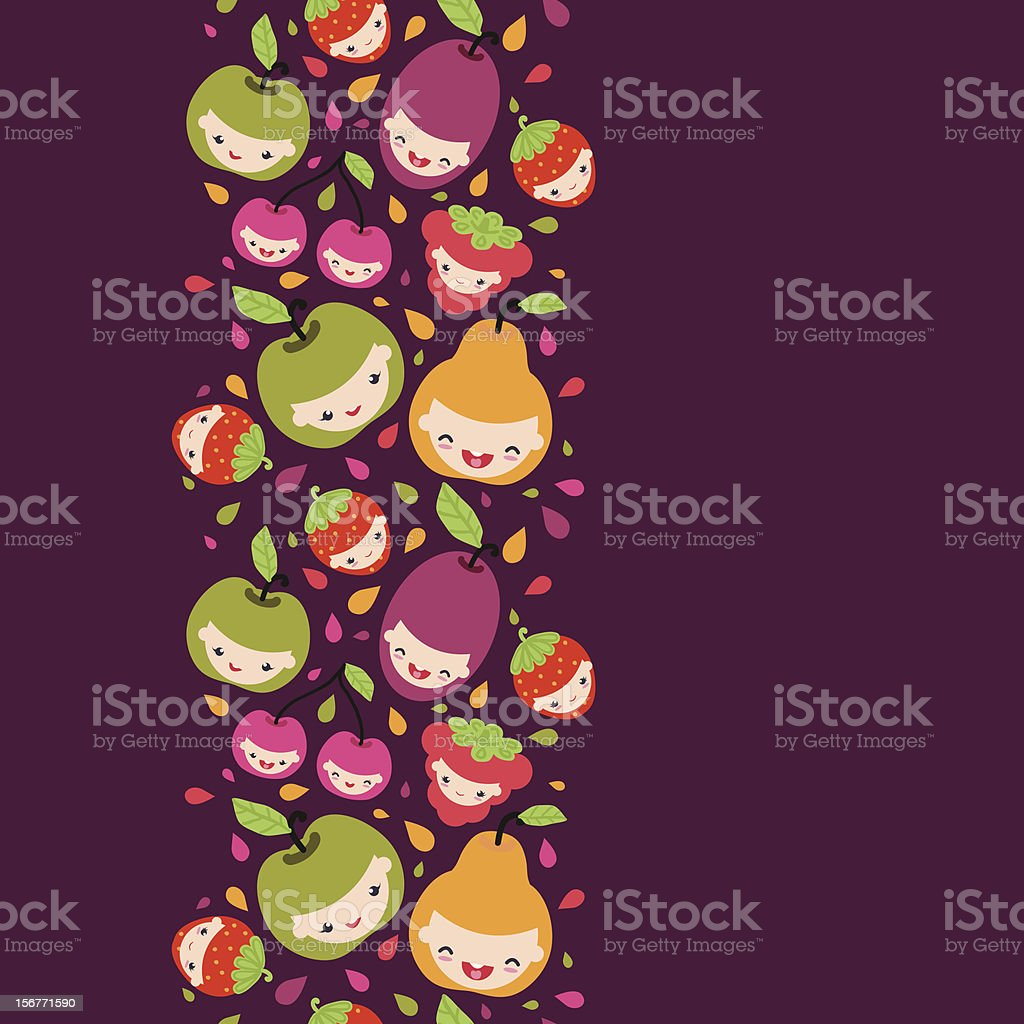 Fruit Characters Vertical Seamless Ornament royalty-free stock vector art