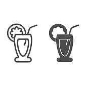 Fruit cocktail line and glyph icon. Drink vector illustration isolated on white. Tropical beverage outline style design, designed for web and app. Eps 10