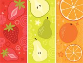 3 vertical banners: strawberries, pears and oranges.