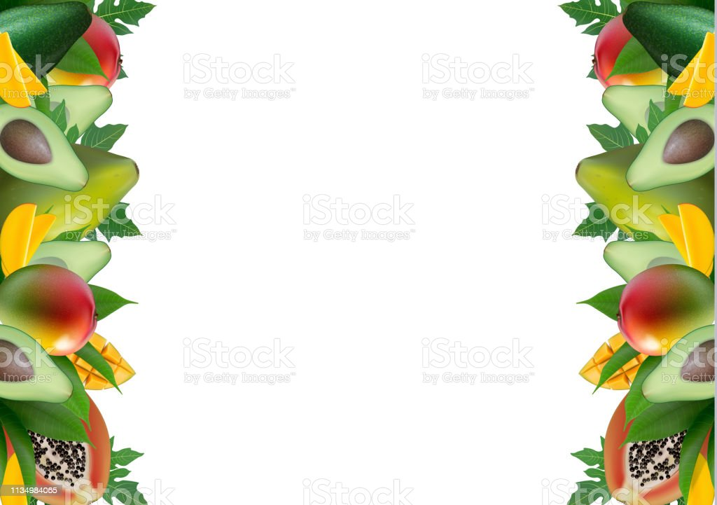 Fruit creative template layout made of avocado, mango, papaya and...