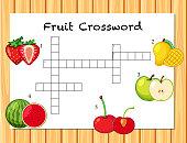 A fruit crossword game template illustration