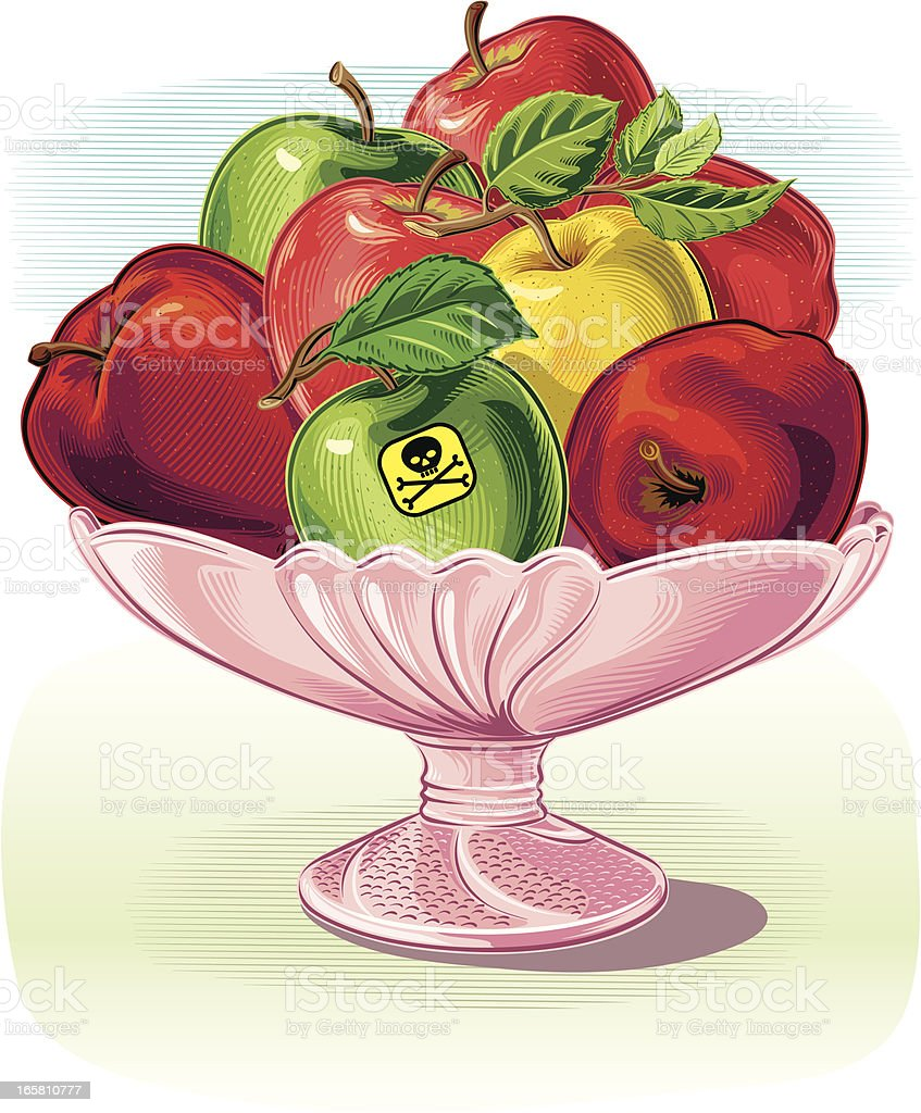 fruit dish with poisoned Apple royalty-free stock vector art