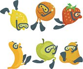 Fruit divers cartoon concept