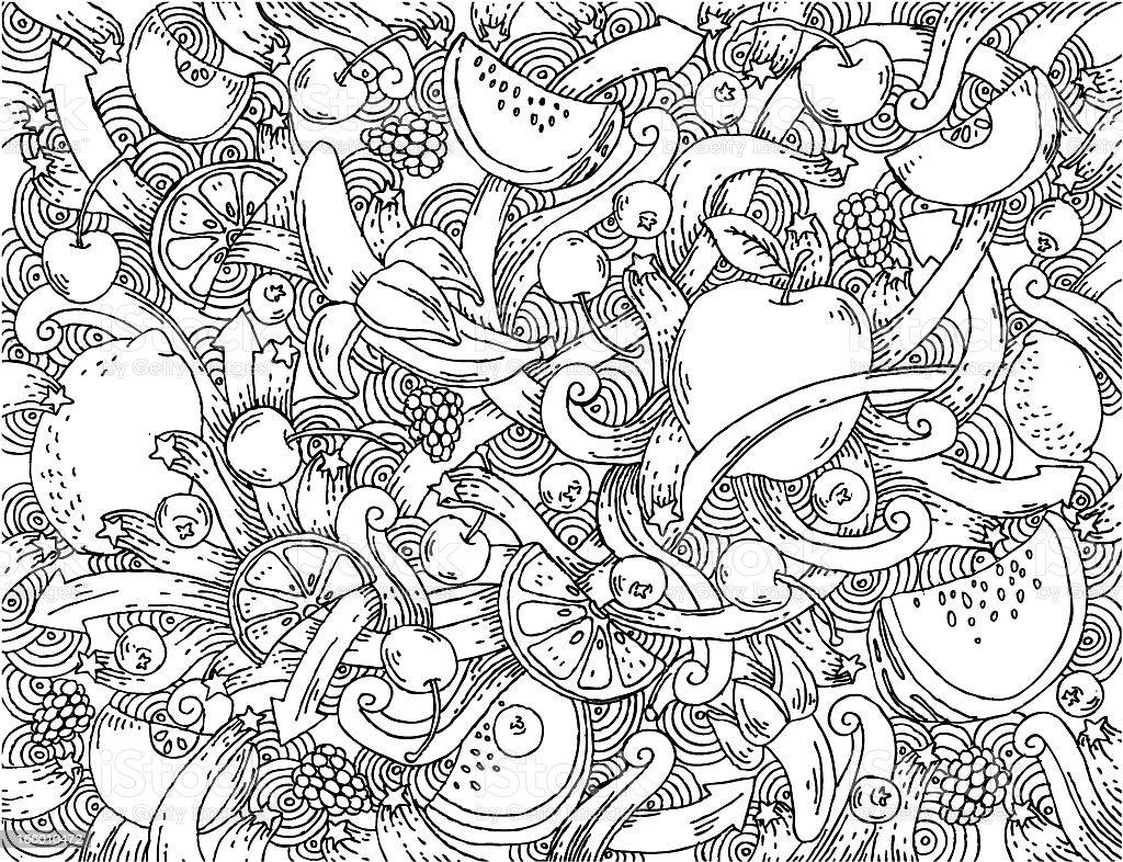 doodle фон фрукты векторная иллюстрация