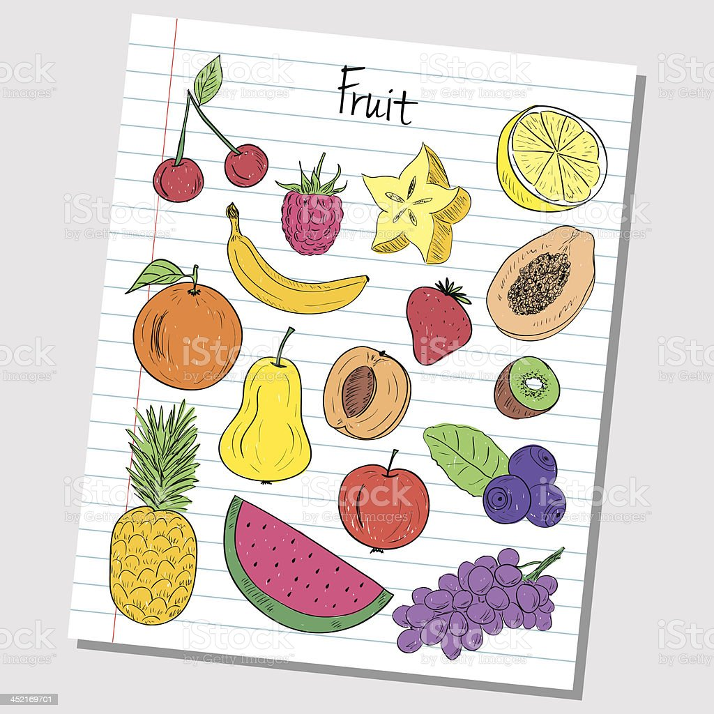 Fruit doodles - lined paper royalty-free stock vector art