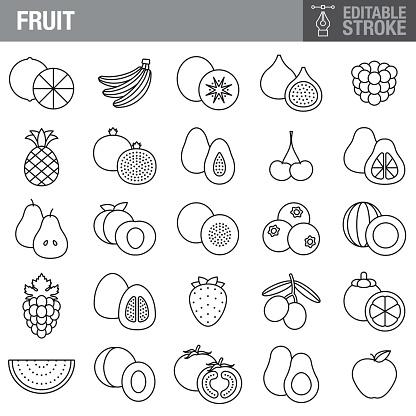 Fruit Editable Stroke Icon Set