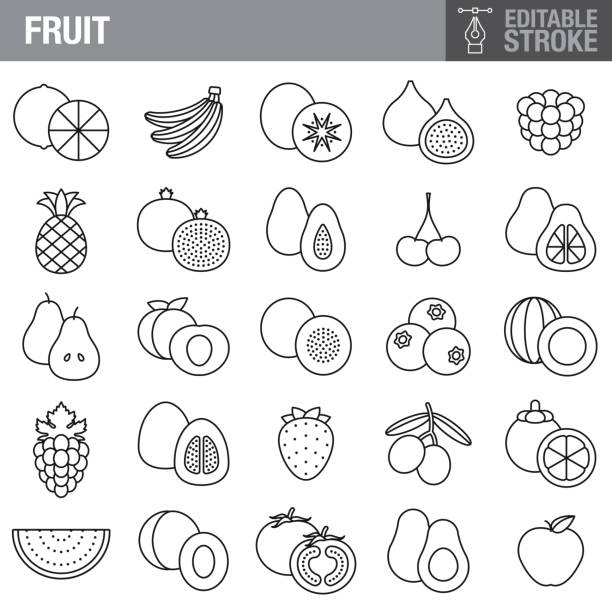 Fruit Editable Stroke Icon Set A set of editable stroke thin line icons. File is built in the CMYK color space for optimal printing. The strokes are 2pt and fully editable: Make sure that you set your preferences to 'Scale strokes and effects' if you plan on resizing! avocado clipart stock illustrations