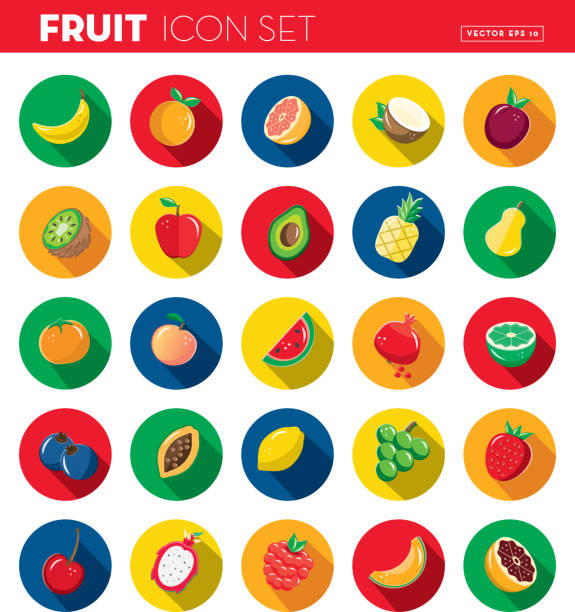 Fruit Flat Design themed Icon set with shadow vector art illustration