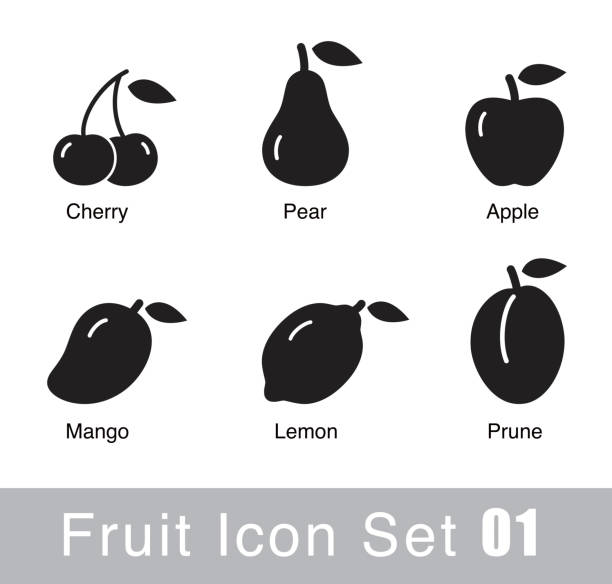 Fruit flat icon design Fruit flat icon design cherry stock illustrations