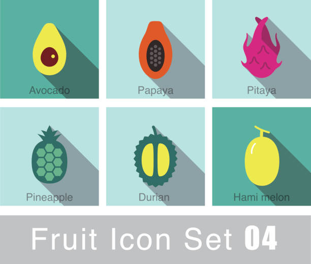 Fruit flat icon design Fruit flat icon design avocado silhouettes stock illustrations