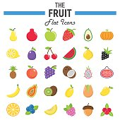 Fruit flat icon set, food symbols collection, vegetarian vector sketches, illustrations, colorful solid pictograms package isolated on white background, eps 10.