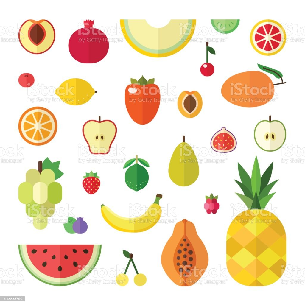 Fruit flat style big vector icon set (isolated). vector art illustration