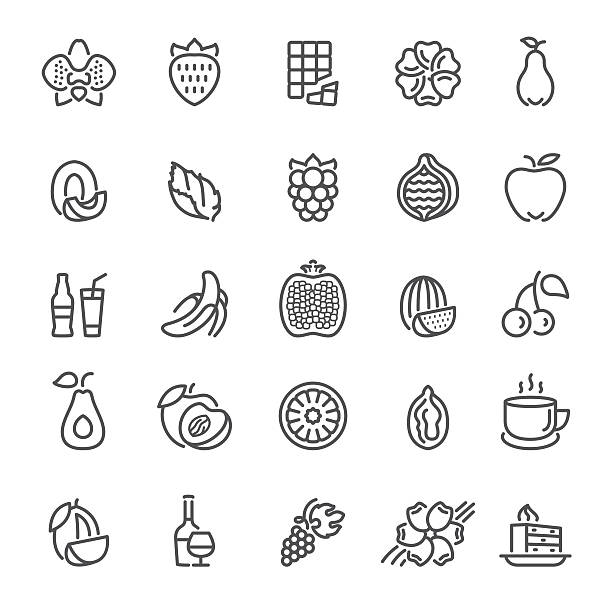 Fruit, flavors, additives and flavorings icons Fruit, flavors, tastes and flavorings, ingredients and scents for packaging design, cosmetics and web mint candy stock illustrations