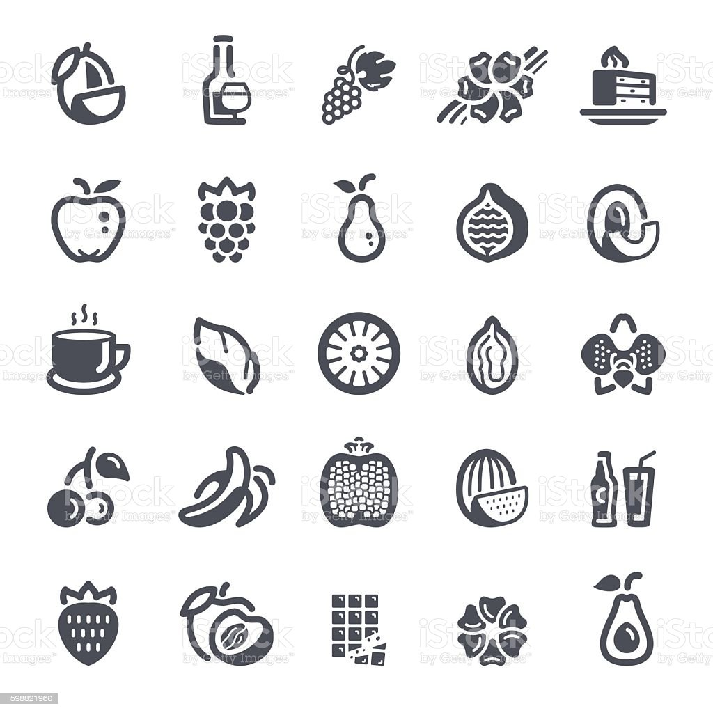 Fruit, flavors, additives and flavorings icons vector art illustration