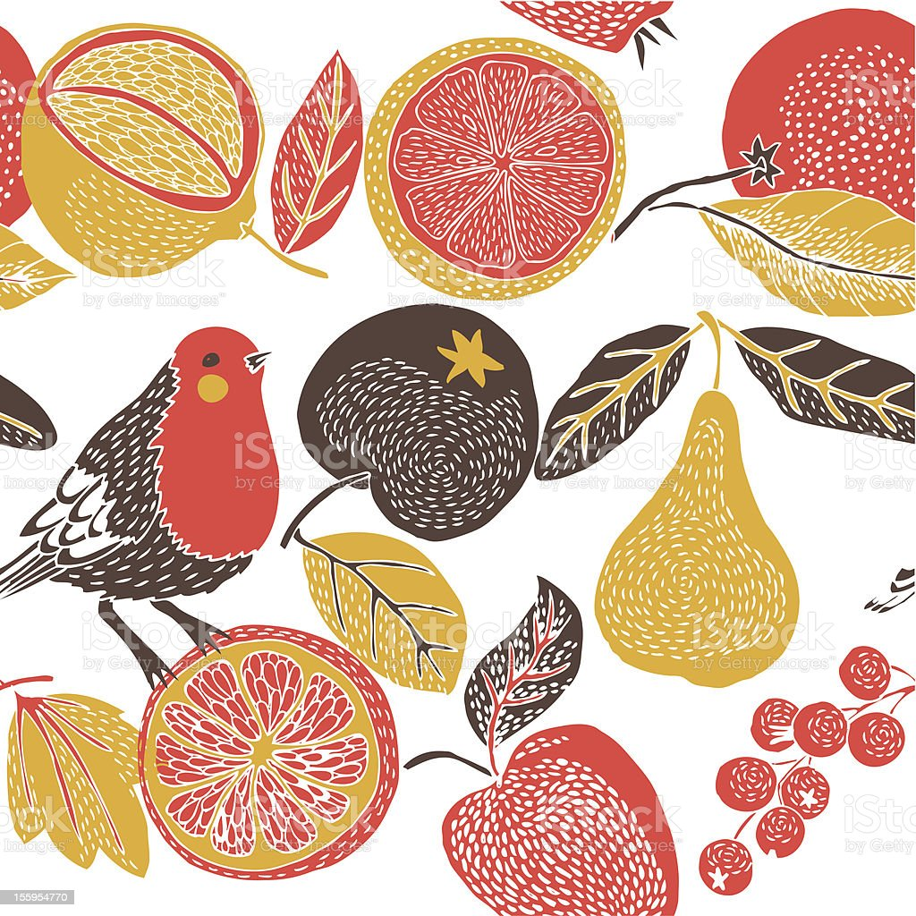 fruit garden with bird royalty-free stock vector art