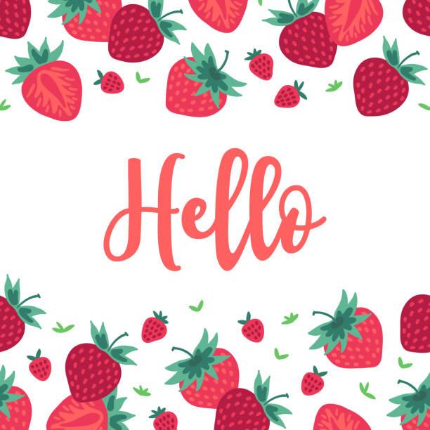 illustrations, cliparts, dessins animés et icônes de carte de voeux de fruits avec bordure transparente - fraise - fraise