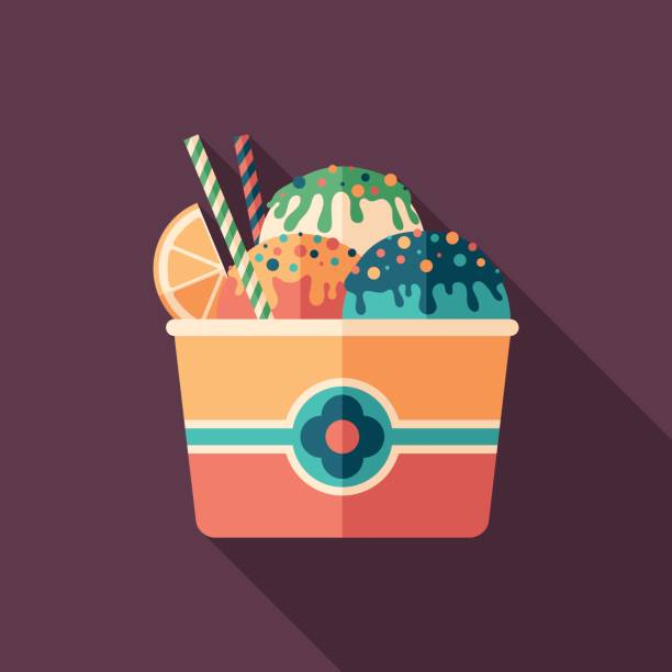 Fruit ice cream flat square icon with long shadows. Summer time flat square icon. ice cream sundae stock illustrations